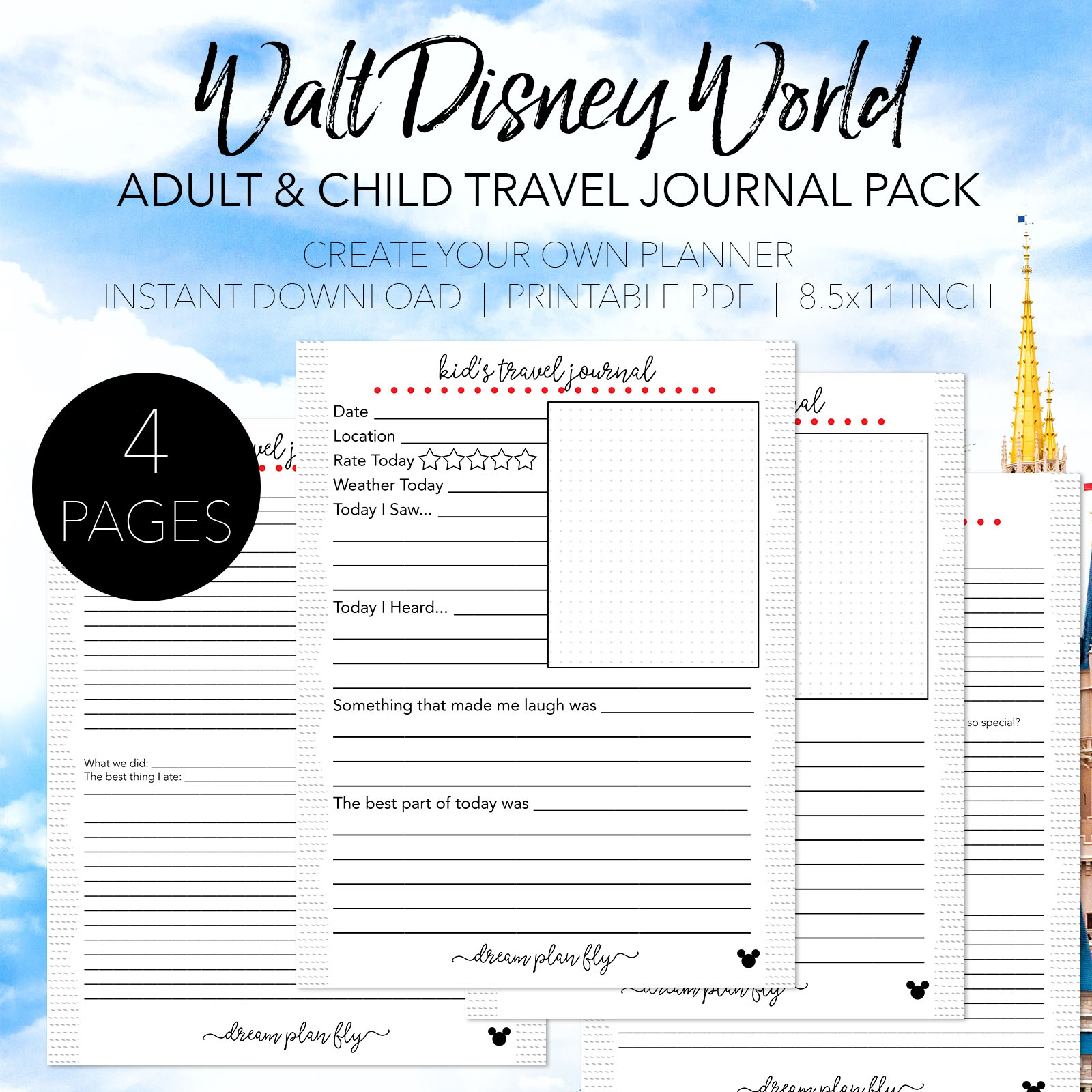 photograph relating to Travel Journal Printable named Walt Disney Globe Push Magazine Package deal