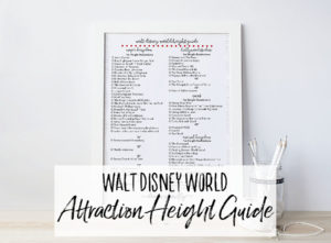 Free Printable Walt Disney World Height Guide