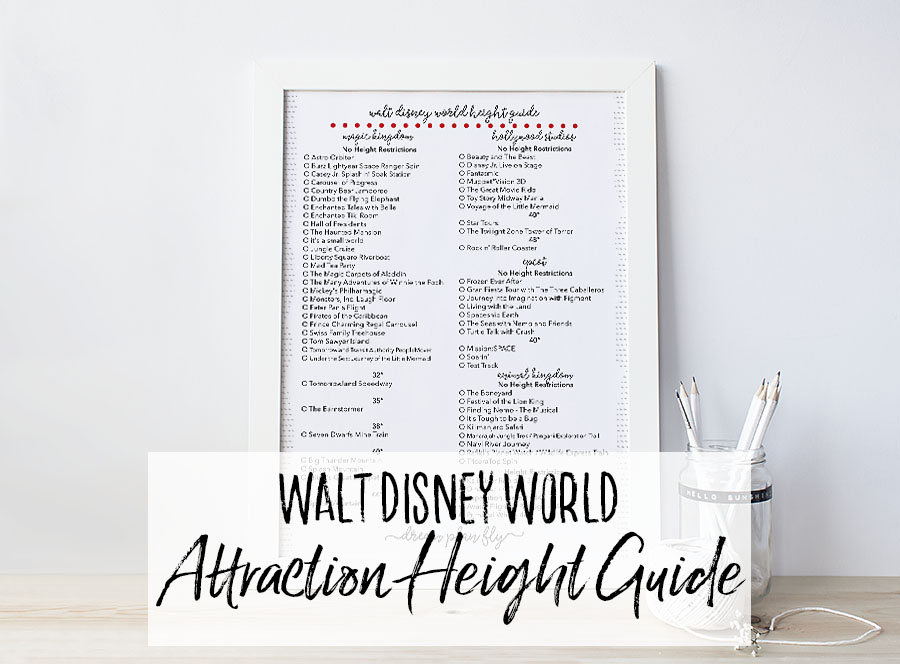 Free Printable Walt Disney World Attraction Height Guide - Dream Plan Fly