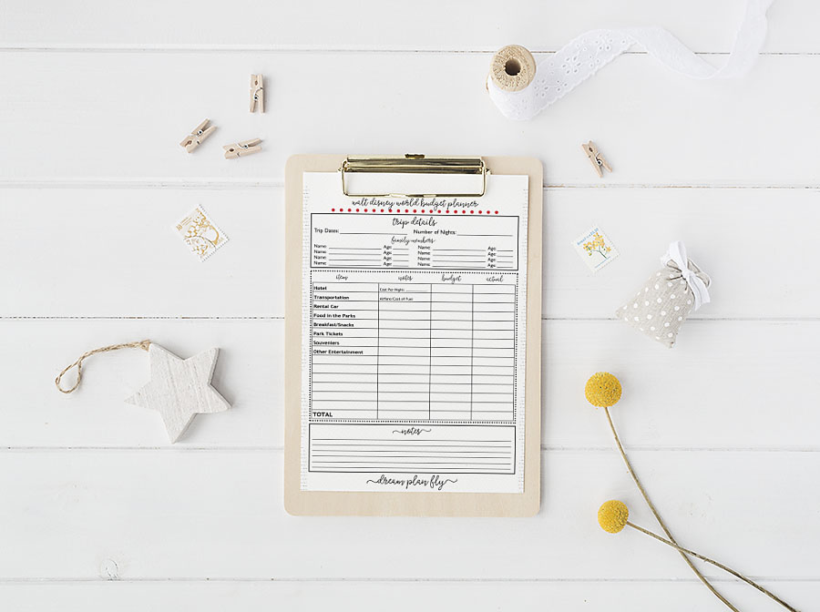 Free Printable Walt Disney World Budget Planner - Dream Plan Fly