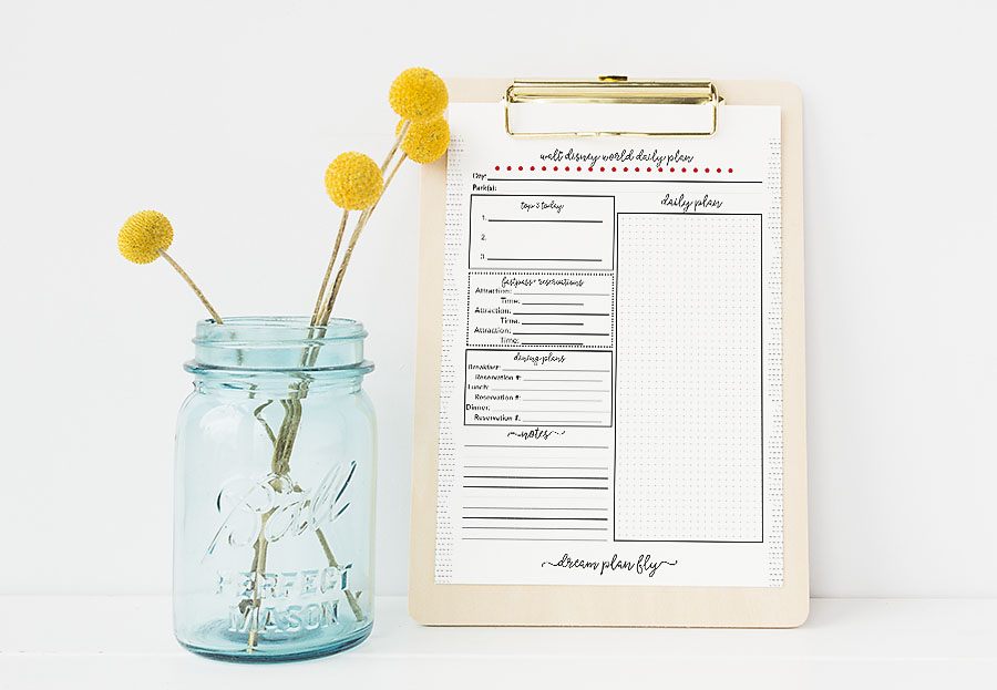Free Printable Walt Disney World Daily Planner - Dream Plan Fly