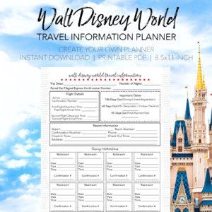Travel Information Planner - Create Your Own Walt Disney World Planner - Dream Plan Fly