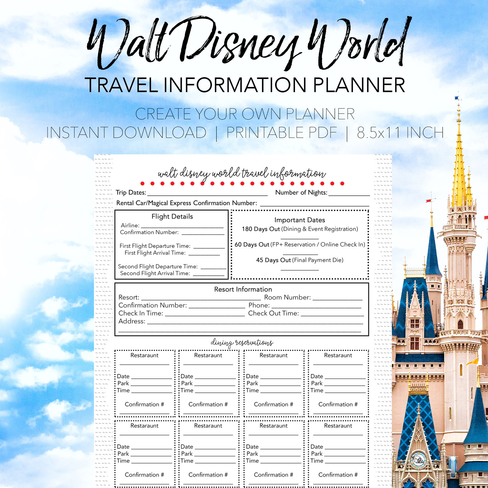 Travel Information Planner - Create Your Own Walt Disney World Planner - Dream Plan Fly