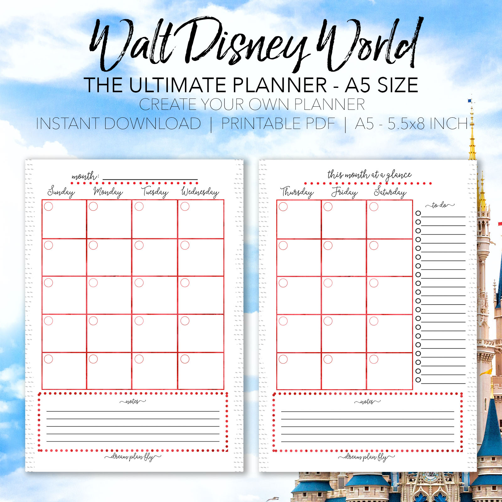 Ultimate walt disney world vacation planner a5 size for Trip calendar planner template