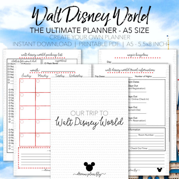 Ultimate Disney Vacation Planner A5 - Dream Plan Fly