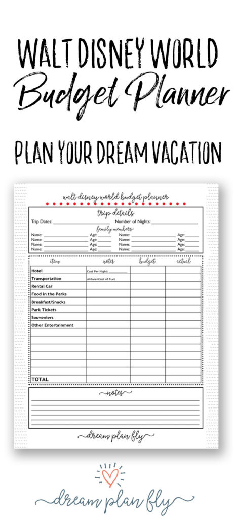 Walt Disney World Budget Planner - Dream Plan Fly